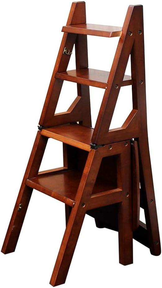 Escalera Plegable de Madera Silla 4 Escalera escalonada Taburete Escalera Multifuncional Oficina en casa Taburete de Escalera portátil Herramienta de Escalada para niños Adultos: Amazon.es: Hogar