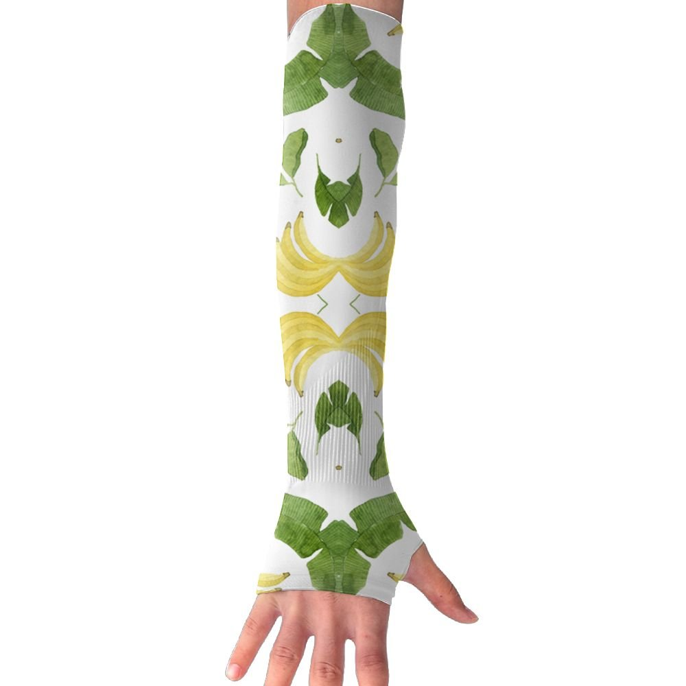 Huadduo Bananas And Banana Leaves Womens Anti-uv Sun Protection Cooling Arm Sun Sports Sleeves Gloves
