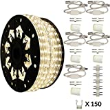 AQL Dimmable Moon White LED Rope Light Deluxe Kit, 120 Volts, Full 360 Degrees LED 513PRO Diode, 150ft/Roll, Commercial Grade Indoor/Outdoor Rope Light, IP65 Waterproof