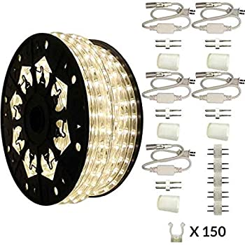 Image of AQL Dimmable Moon White LED Rope Light Deluxe Kit, 120 Volts, Full 360 Degrees LED 513PRO Diode, 150ft/Roll, Commercial Grade Indoor/Outdoor Rope Light, IP65 Waterproof