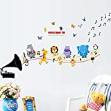 Wallpark Black Speaker Music Notes Dancing Animals Giraffe Lion Butterflies Removable Wall Sticker Decal, Children Kids Baby Home Room Nursery DIY Decorative Adhesive Art Wall Mural