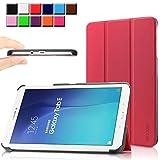 Samsung Galaxy Tab E 9.6 case - Infiland Ultra Slim Tri-Fold Case Cover for Samsung Tab E / Tab E Nook 9.6-Inch Tablet (SM-T560 / T561 / T565 / SM-T567V Verizon 4G LTE) (Tab E 9.6 Inch, Red)