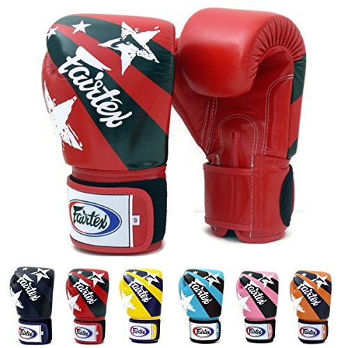 Fairtex Muay Thai Boxing Gloves BGV1 Limited Editon Nation Print Color: Pink Yellow Red Blue Size: 10 12 14 16 oz Training & Sparring All Purpose Gloves for Kick Boxing MMA K1 Tight Fit Design (Red, 14 oz)
