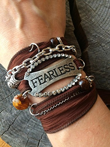 'Fearless' - Silk Ribbon Bracelet, Ribbon Wrap Bracelet, Power Phrase Bracelet, Bracelets With Quotes, Wrap Bracelets, Gypsy Wrap Bracelet, Survivor Gift, Survivor ()