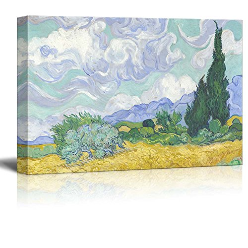 A Wheatfield with Cypresses by Van Gogh Giclee ped Gallery