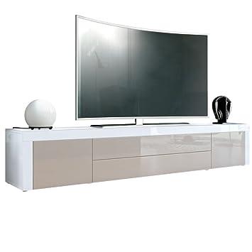 TV Board Lowboard La Paz, Korpus In Weiß Hochglanz / Front In Sandgrau  Hochglanz Mit