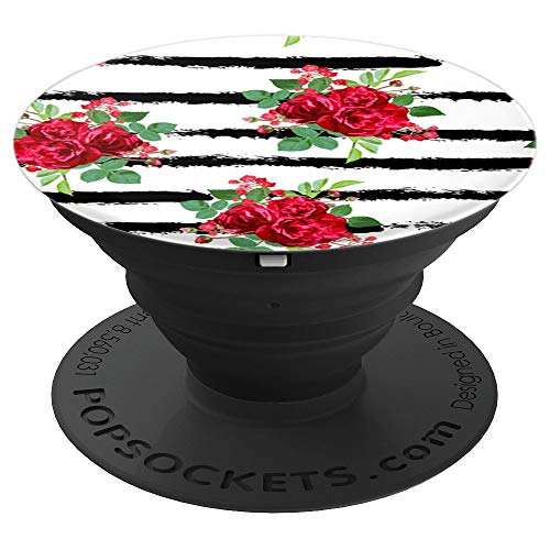 Black Stripes Red Rose Bouquet Pop Socket: PopSocket Floral - PopSockets Grip and Stand for Phones and Tablets