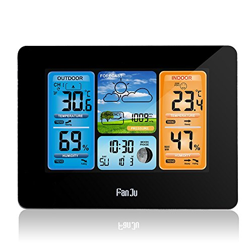 DDSKY Wireless Weather Station with Outdoor Sensor, Weather Monitoring Clocks with Min/Max Display of Thermometer and Hygrometer, Moon Phase, Daily Alarm, Powered by Batteries/USB Cable (Black)