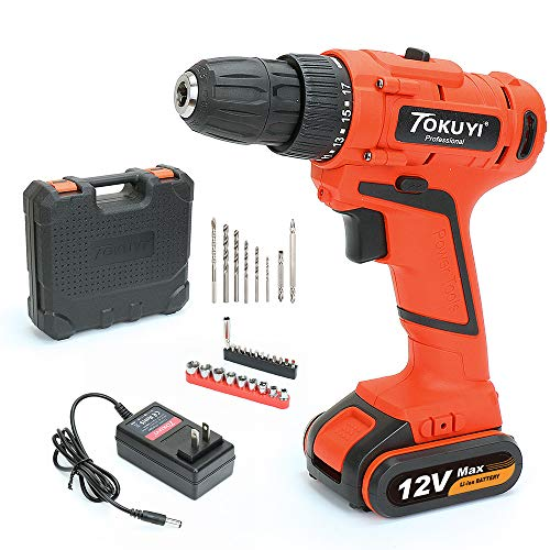 TOKUYI 12V Lithium Cordless Drill Driver Kit Set, 3/8″ Keyless Chuck, 2-Speed Max Torque 42 Nm 17 Position with Bits, LED Light, Battery & 1 Hour Fast Charger, 32pcs Accessories Included For Sale