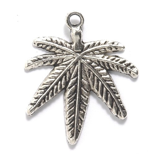 Shipwreck Beads Zinc Alloy Marijuana Leaf Pendant, 33 by 39mm, Silver, - Leaf Charms Beads