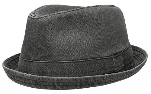 Men's Casual Vintage Style Washed Cotton Fedora Hat (F2232-BLACK,SM)