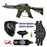 US Army Alpha Black Tactical Paintball Marker Gun 3Skull 4+1 Mega Set - Black