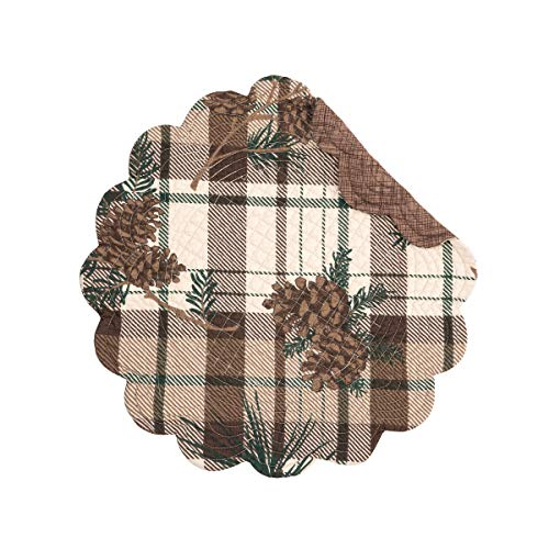 (C&F Home Lookout Lodge Round Reversible Cotton Quilted Placemat Round Placemat Brown)