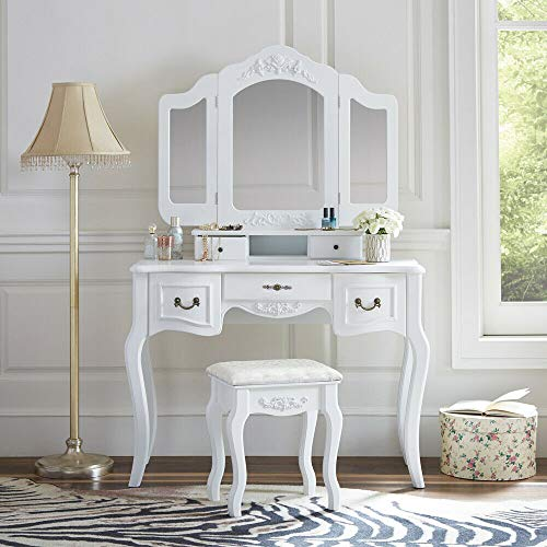 goodyusstore Dual Usage, Practical & Modern Stylish Design, White Tri-Folding Mirror Vanity Set 5 Drawers Dressing Table Makeup Desk and Stool, A Spacious Writing Desk