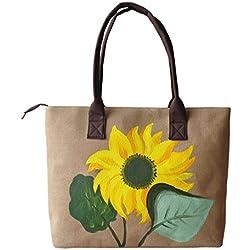 HeySun Women's Fashion Sunflower Hand-painted Tote Shoulder Bag Satchel Handbag (Khaki)