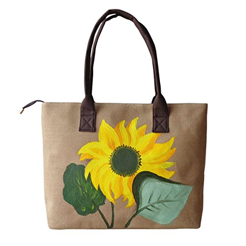 HeySun Women's Fashion Sunflower Hand-painted Tote Shoulder Bag Satchel Handbag (Khaki)