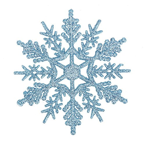 WinnerEco 24pcs Snowflakes Christmas Tree Decoration 10cm Plastic Glitter Snow Flake (Light Blue) -