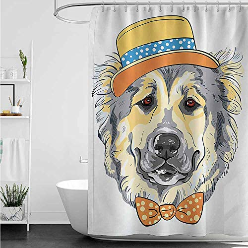 (home1love Shower Curtain with Hooks,Animal Cartoon Art Style Animal Theme Cute Dog in Hat and Bow Tie Illustration,Shower stall Curtain,W36x72L,Pale Yellow Pale Grey)