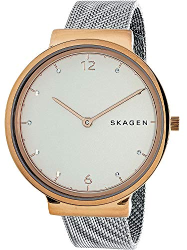 Skagen Women's Ancher Quartz Two-Tone Stainless Steel Mesh Dress Watch, Color: Silver and Rose Gold-Tone (Model: SKW2616)