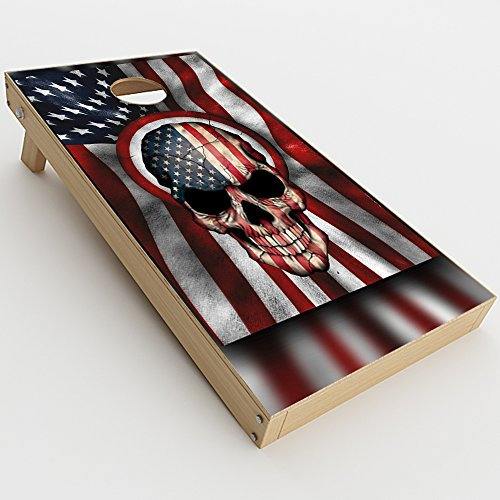 Skin Decal Vinyl Wrap for Cornhole Game Board Bag Toss (2xpcs.) Skins Stickers Cover / America Skull Military USA Murica]()