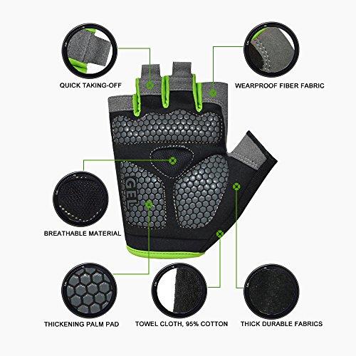 HuwaiH Cycling Gloves Men's/Women's Mountain Bike Gloves Half Finger Biking Gloves   Anti-slip Shock-absorbing Gel Pad Breathable Cycle Gloves (Black Green, Large(Male))