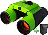 Zeinum Binoculars for Travel | Metal frame | Great for Bird Watching Hiking Boating Hunting Stargazing Theater Opera | Small Compact Lightweight Durable | with Carrying Case | Green