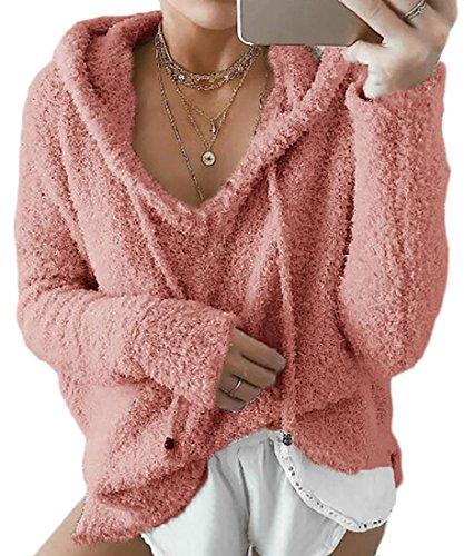 today-UK Women Fleeced V Neck Solid Pullover Drawstring Loose Sweatshirt Hoodies 1
