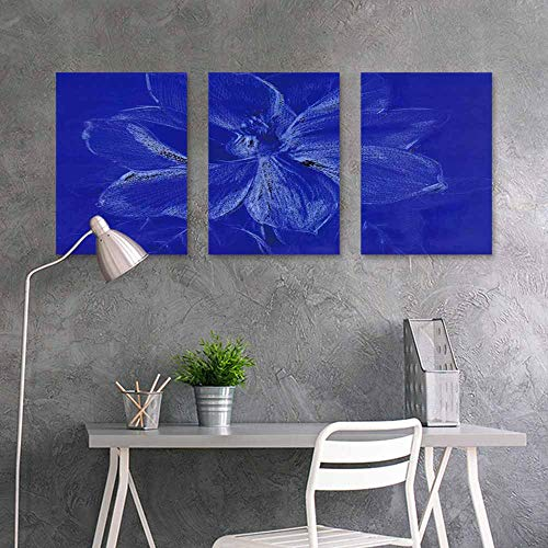 BDDLS Pattern Oil Painting Art Sticker,Floral Style Smoke Blue line Ornament Background for Home Decoration Wall Decor 3 Panels,24x47inchx3pcs Flower Abstract-4