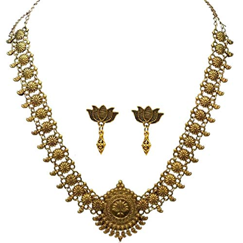 Sansar India Lotus Pendant Indian Necklace Jewelry Earrings Set for Girls and Women 1346