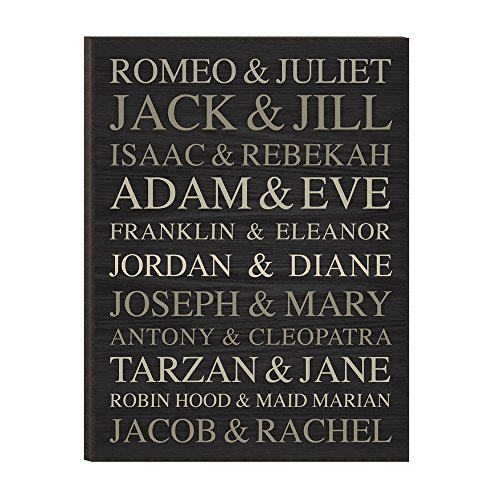 Famous Names, Add Your Own Famous Union to this List of Couples, Wood Decorative Wall Art Plaque, 12