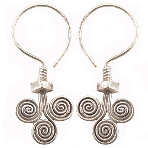 Coil Earrings Pure Silver Karen Hill Tribe Handmade Gift Silver, Thailand (Coil Hill Tribe Charms)
