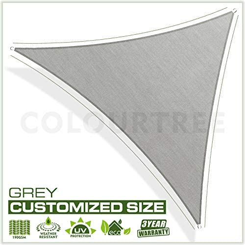 ColourTree Custom Size CTAPT10 Order to Make 15 x 16 x 21.9 Grey Right Triangle Sun Shade Sail Canopy Mesh Fabric UV Block – Commercial Heavy Duty – 190 GSM – 3 Years Warranty