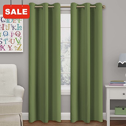 Turquoize Solid Blackout drapes, Room Darkening, Sage, Themal Insulated, Grommet/Eyelet Top, Nursery/Living Room Curtains Each Panel 42