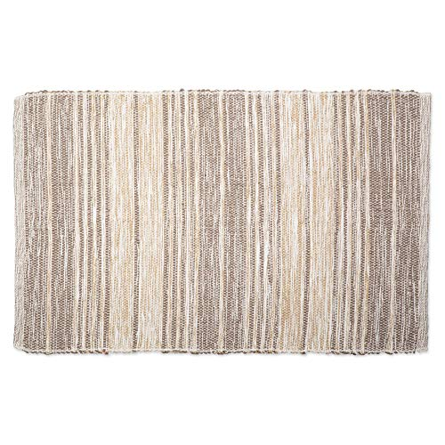 (DII CAMZ11091 Contemporary Reversible Machine Washable Recycled Yarn Area Rug for Bedroom, Living Room, and Kitchen, 2 x 3', Variegated Stripe Stone)