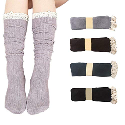 Bestjybt Women Cotton Knit Boot Socks Knee High Socks Stockings with Lace Trim(4 Pairs-Style 03) ()