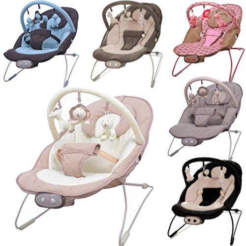 Babywippe / Babyschaukel mit Spielbogen & Vibrationsfunktion & Musikfunktion (12 Melodien) (BLAU / BRAUN)