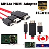 TechDeals MHL Micro USB to HDMI Cable Adapter for Samsung Galaxy S5 S4 S3 Note 2 3 4 1080p HDTV