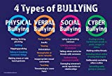 "Bullying - The 4 Types: Physical, Verbal, Social and Cyber - 12""x18"" Poster"