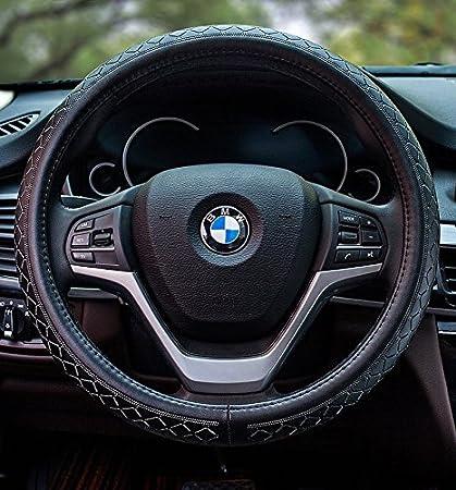 Echtleder Yopria Pr/ämie Fahrzeug Lenkradabdeckung Auto Lenkradschutz Universal Durchmesser 38cm 15