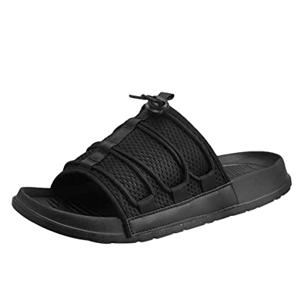 d927fecdf Mens Flats One-Word Drag Beach Shoes Non-Slip Breathable Sport Slippers  (Black