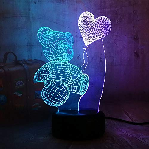 Romantic Teddy Bear Hold Heart 7 Color Mixed Dual Colors Girlfriend Gift 3D LED Night Lihgt Home Decor Novelty Lustre Desk Lamp(Mix Heart Bear)