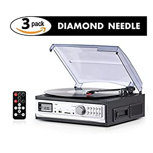 Cassette & Record Player with 3 Pack Diamond Tip Needle – Relive Unforgettable Memories – Easily Record Music from Vinyl/Cassette to MP3 via USB/SD Card – Plug & Play with Built in Speakers