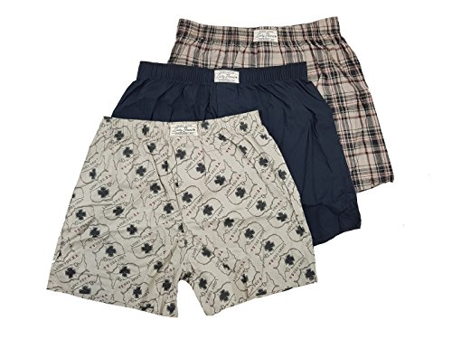 Lucky Boxers Boxer Shorts - Lucky Brand Men's 3-Pack Woven Cotton Plaid Boxers (Black/Plaid Black-Grey/Printed Grey Maps, M)