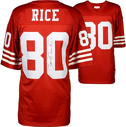 Jerry Rice San Francisco 49ers Autographed Mitchell and Ness Red Replica Jersey - Fanatics Authentic Certified
