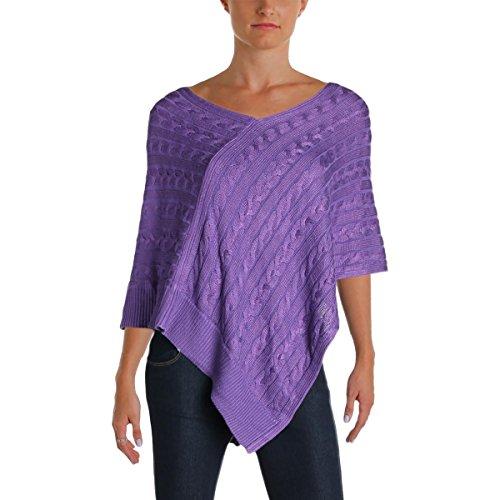 Lauren Ralph Lauren Womens Bigley Cable Knit Pullover Sweater Purple (Ralph Lauren Poncho)