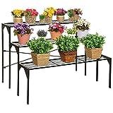 MyGift Large Modern Black Metal 3 Tier Shelf Flower Plant Display Stand Rack / Freestanding Home Decor Shelves