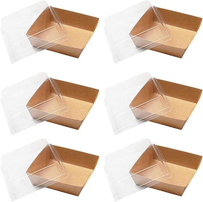50pcs Disposable Lunch Box Cake Packaging Boxes Plastic Food Container 1000ml