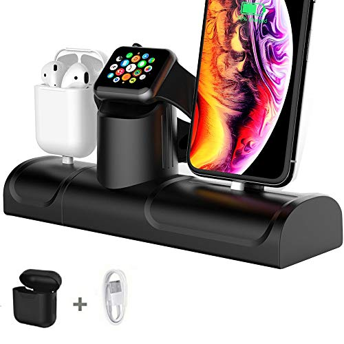 3 in 1 Charging Stand for Apple Watch iPhone AirPods Charger Holder Docking Station Dock Silicone Support for iWatch 4/3/2/1/ AirPods/iPhone XR/XS /8/8 Plus/ 7/7 Plus Black (3 in 1 Stand)