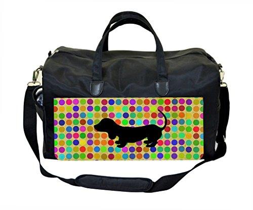 Cute Dog Silhouette on Polka Dots- Diaper Bag