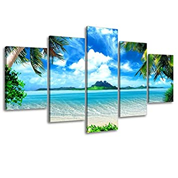 Very Artistic Wall Art of Palm Trees and Caribbean Island Picture, Seascape Canvas Prints for Living Room, Blue, 1 Thick, Hooks Mounted, Waterproof, Extra Large Size